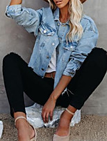 cheap -Women's Solid Colored Patchwork Spring & Summer Denim Jacket Regular Daily Long Sleeve Denim Coat Tops Light Blue