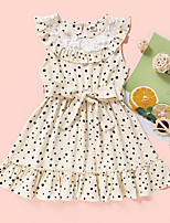 cheap -Kids Toddler Little Girls' Dress Polka Dot Print Wine Beige Knee-length Sleeveless Active Dresses Summer Regular Fit 2-8 Years