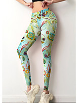 cheap -Women's Colorful Fashion Comfort Leisure Sports Weekend Leggings Pants Color Block Graphic Prints Graffiti Ankle-Length Sporty Elastic Waist Print Green