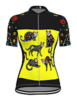 cheap -21Grams Women's Short Sleeve Cycling Jersey Spandex Yellow Cat Bike Top Mountain Bike MTB Road Bike Cycling Breathable Sports Clothing Apparel / Stretchy / Athleisure