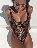 cheap -Women's Layered Hole Bodysuits Nightwear Solid Colored Leopard Bra Brown XS S M