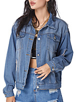 cheap -Women's Solid Colored Cut Out Active Spring &  Fall Jacket Short Going out Long Sleeve Denim Coat Tops Blue