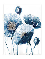 cheap -Oil Painting Hand Painted Vertical Abstract Floral / Botanical Modern Rolled Canvas (No Frame)