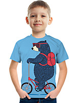 cheap -Kids Boys' Tee Short Sleeve Graphic Animal Children Tops Active Light Blue 3-12 Years