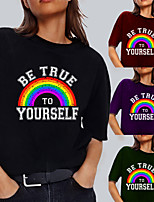 cheap -Women's Tee / T-shirt Pure Color Crew Neck Letter Printed Sport Athleisure T Shirt Top Short Sleeves Breathable Soft Comfortable Everyday Use Street Casual Daily Outdoor
