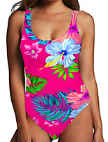 cheap -Women's One Piece Monokini Swimsuit Tummy Control Print Color Block Floral Red Swimwear Bodysuit Strap Bathing Suits New Fashion Sexy / Leaf