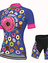 cheap -Women's Short Sleeve Cycling Jersey with Shorts Spandex Blue Bike Breathable Quick Dry Sports Graphic Mountain Bike MTB Road Bike Cycling Clothing Apparel / Stretchy / Athletic / Athleisure