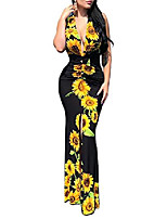 cheap -Women's Sheath Dress Maxi long Dress L Black sunflower Red chain Blue Maple Leaf Cross-border explosions Black chain White peacock Navy blue chain Sleeveless Pattern Spring Summer Elegant & Luxurious