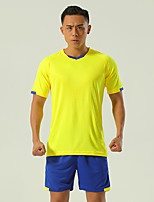 cheap -Men's Hiking Tee shirt with Shorts Short Sleeve Clothing Suit Outdoor Quick Dry Lightweight Breathable Stretchy Autumn / Fall Spring Summer Spandex Polyester Yellow Blue Green Fishing Climbing