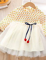 cheap -Kids Little Girls' Dress Cartoon Patchwork Print Blushing Pink Orange Knee-length Long Sleeve Sweet Dresses Fall Spring Regular Fit 3-8 Years