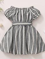 cheap -Kids Toddler Little Girls' Dress Striped Bow Gray Knee-length Short Sleeve Active Dresses Summer Regular Fit 2-8 Years