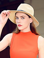 cheap -Solid Color Classic Straw Hats with Trim 1 Piece Casual / Holiday Headpiece