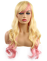 cheap -Synthetic Wig Curly Side Part Wig Medium Length Gold Pink Synthetic Hair Women's Cosplay Party Fashion Blonde Pink