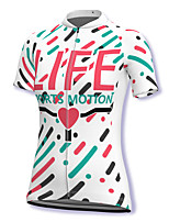 cheap -21Grams Women's Short Sleeve Cycling Jersey Spandex White Stripes Heart Bike Top Mountain Bike MTB Road Bike Cycling Breathable Sports Clothing Apparel / Stretchy / Athleisure