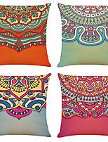 cheap -4 pcs Linen Pillow Cover, Geometric Simple Classic Square Zipper Traditional Classic