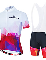 cheap -Men's Short Sleeve Cycling Jersey with Shorts Red and White Bike Breathable Sports Geometic Clothing Apparel / Micro-elastic / Athleisure