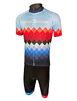 cheap -Men's Short Sleeve Cycling Padded Shorts Cycling Jersey with Bib Shorts Cycling Jersey with Shorts Dark Grey Mineral Green Red and White Bike Shorts Sports Clothing Apparel