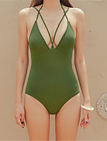 cheap -Women's One Piece Swimsuit Solid Colored Padded Swimwear Bodysuit Swimwear Black Green Breathable Quick Dry Comfortable Sleeveless - Swimming Surfing Water Sports Summer / Spandex