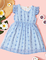 cheap -Kids Toddler Little Girls' Dress Graphic Print Blue Knee-length Sleeveless Active Dresses Summer Regular Fit 2-8 Years