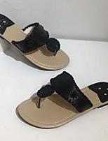 cheap -Women's Sandals Boho Bohemia Beach Flat Heel Round Toe PU White Black Blue