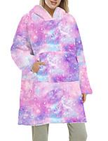 cheap -Women's Home Polyester Hooded Loungewear Long Sleeve Pocket Winter Tie Dye One-Size Blue