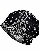 cheap -updateclassic slouchy skull cap for men cashew pattern hip hop cap and neck cap thin spring hat for jogging cycling black