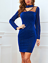cheap -Women's A Line Dress Knee Length Dress Blue Long Sleeve Solid Color Color Block Patchwork Print Summer Round Neck Casual Sexy 2021 S M L XL