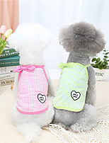 cheap -Dog Cat Shirt / T-Shirt Vest Plaid Heart Bowknot Elegant Adorable Cute Dailywear Casual / Daily Dog Clothes Puppy Clothes Dog Outfits Breathable Yellow Pink Green Costume for Girl and Boy Dog Cotton
