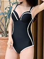 cheap -Women's One Piece Swimsuit Solid Colored Padded Swimwear Bodysuit Swimwear White Black Breathable Quick Dry Comfortable Sleeveless - Swimming Surfing Water Sports Summer / Spandex