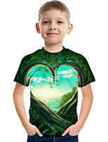 cheap -Kids Boys' Tee Short Sleeve Graphic Children Tops Active Green