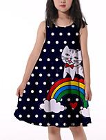cheap -Kids Little Girls' Dress Polka Dot Animal Print Navy Blue Knee-length Sleeveless Flower Active Dresses Summer Regular Fit 5-12 Years