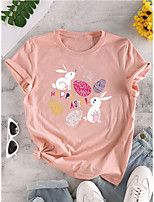 cheap -Women's T shirt Graphic Letter Animal Print Round Neck Tops 100% Cotton Basic Basic Top White Blushing Pink Green