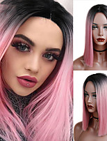 cheap -Pink/Brown/Grey Straight Shoulder Length Synthetic Wigs Heat Resistant Hair For Black/White Women Cosplay Or Party
