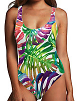 cheap -Women's One Piece Monokini Swimsuit Tummy Control Print Tropical Leaf Blue Rainbow Swimwear Bodysuit Strap Bathing Suits New Fashion Sexy