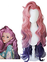 cheap -LoL Seraphine Cosplay Wig KDA Cosplay Loose Wave Straight Pink Mixed Purple Wigs Heat Resistant Synthetic Hair Game