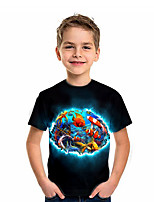 cheap -Kids Boys' T shirt Short Sleeve Animal Daily Wear Print Children Summer Tops Active Regular Fit Black 4-12 Years