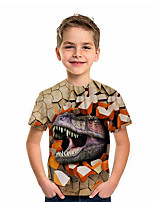 cheap -Kids Boys' T shirt Short Sleeve Dinosaur Animal Daily Wear Print Children Summer Tops Active Regular Fit Brown 4-12 Years