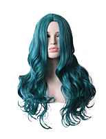 cheap -Synthetic Wig Deep Wave Asymmetrical Middle Part Wig 28 inch Azure Synthetic Hair Women's Cosplay Party Fashion Blue