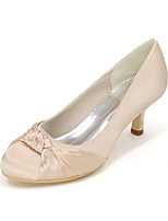 cheap -Women's Wedding Shoes Kitten Heel Round Toe Wedding Flats Satin Solid Colored White Purple Red