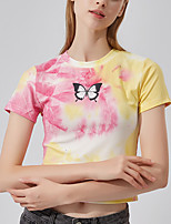 cheap -Women's Crop Top Tee / T-shirt Tie Dye Crew Neck Butterfly Sport Athleisure T Shirt Top Short Sleeves Breathable Soft Comfortable Everyday Use Street Casual Daily Outdoor