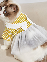 cheap -Dog Dress Stripes Lace Elegant Adorable Cute Dailywear Casual / Daily Dog Clothes Puppy Clothes Dog Outfits Breathable Yellow Light Blue Costume for Girl and Boy Dog Cotton XS S M L XL