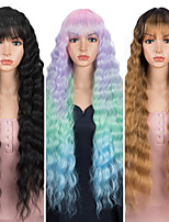 cheap -Loose Wave Fake Hair Cosplay Wig Nature Hair 30 Inch Ombre Brown Heat Resistant Long Synthetic Wigs For Black Women