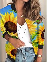 cheap -Women's Plants Print Active Spring &  Fall Jacket Regular Daily Long Sleeve Air Layer Fabric Coat Tops Blue