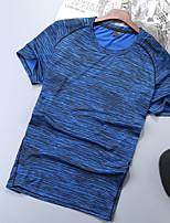 cheap -Men's T shirt Hiking Tee shirt Short Sleeve Tee Tshirt Top Outdoor Quick Dry Lightweight Breathable Sweat wicking Autumn / Fall Spring Summer POLY Random Colors Red Blue Hunting Fishing Climbing