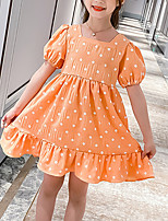 cheap -Kids Little Girls' Dress Polka Dot Festival Purple Orange Knee-length Short Sleeve Sweet Dresses Children's Day Summer Regular Fit 3-13 Years