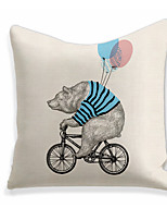 cheap -1 pcs Linen Pillow Cover, Print Square Zipper Polyester Traditional Classic