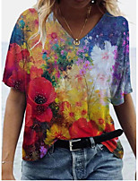 cheap -Women's T shirt Floral Print V Neck Tops Boho Basic Top Red