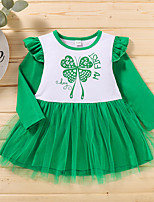 cheap -Toddler Little Girls' Dress Butterfly Letter Animal Print Green Long Sleeve Active Dresses Summer Regular Fit 2-6 Years