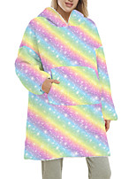 cheap -Women's Home Polyester Hooded Loungewear Long Sleeve Pocket Winter Fruit One-Size White / Print