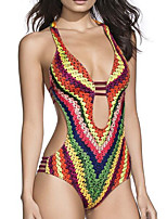 cheap -Women's One Piece Monokini Swimsuit High Waist Open Back Print Color Block Geometric Rainbow Swimwear Padded Strap Bathing Suits New Ethnic Colorful / Vintage / Abstract / Cross
